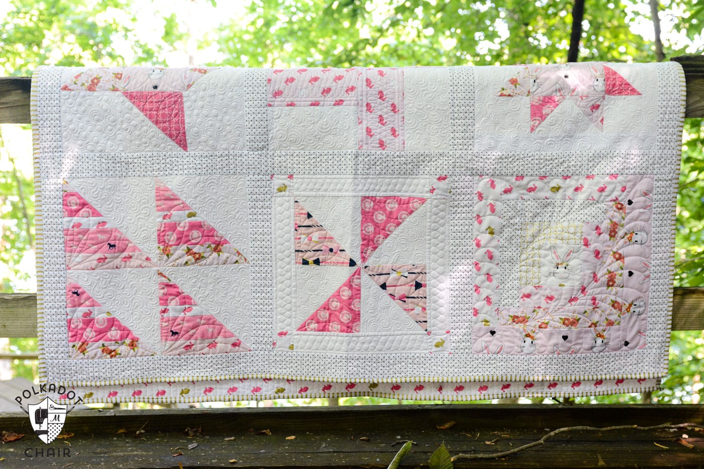 Completed Sampler Quilt made from free Block of the Month quilt blocks on polkadotchair.com