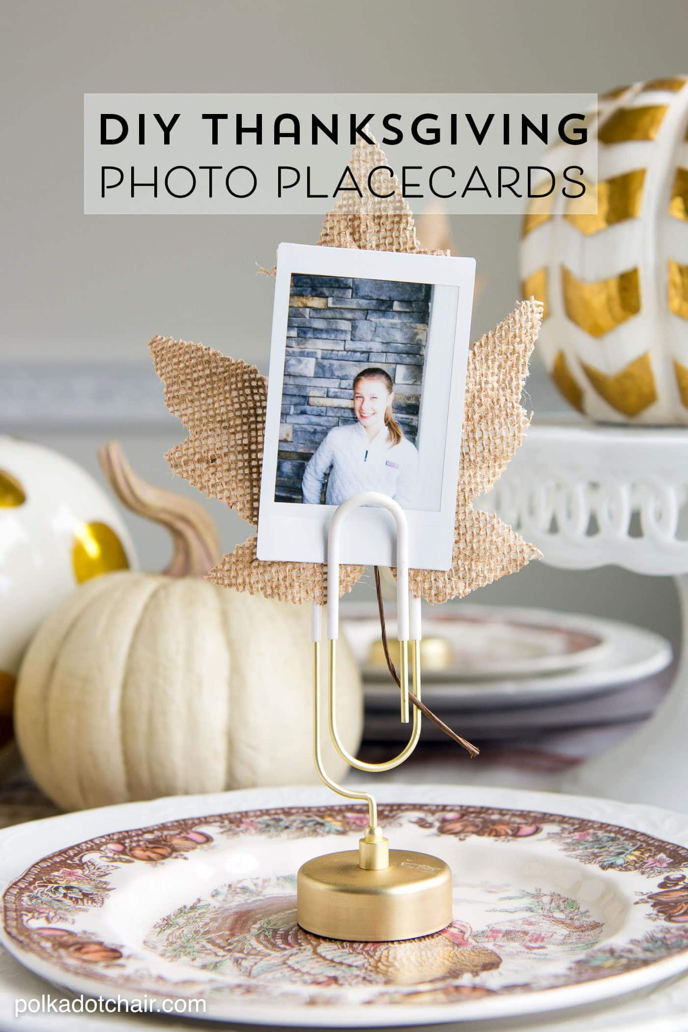 Cute idea for Thanksgiving Place Cards- DIY Photo place cards using Instax photos