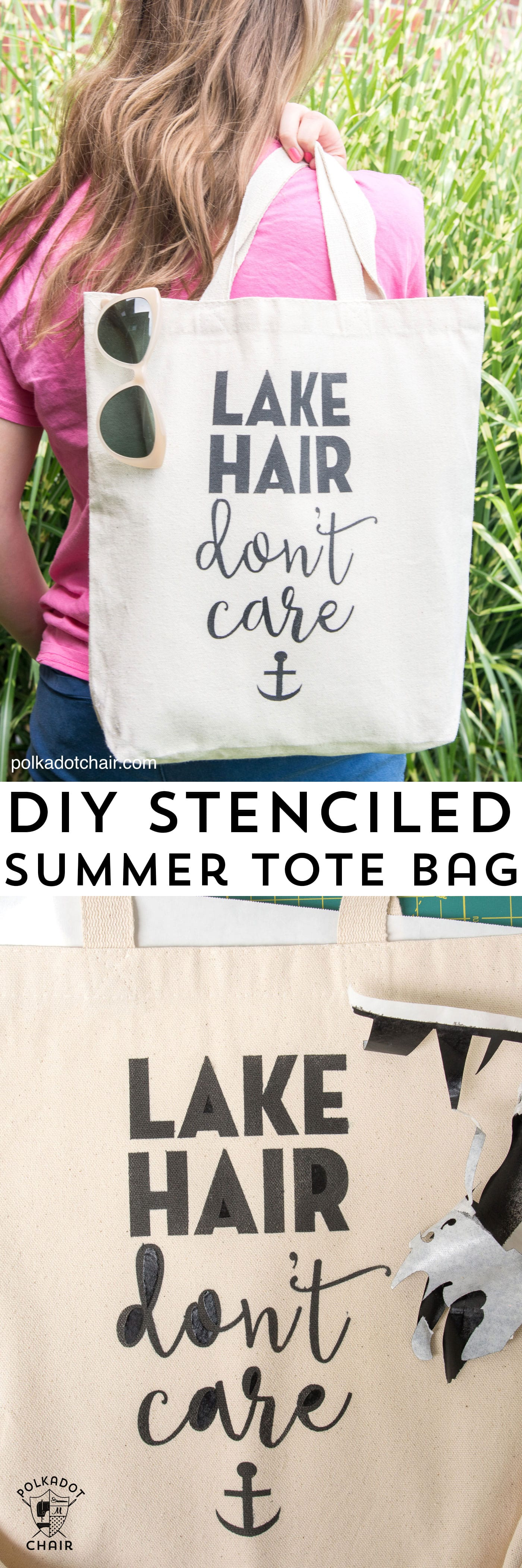 Diy Stenciled Tote Bag Lake Hair Don T Care The Polka