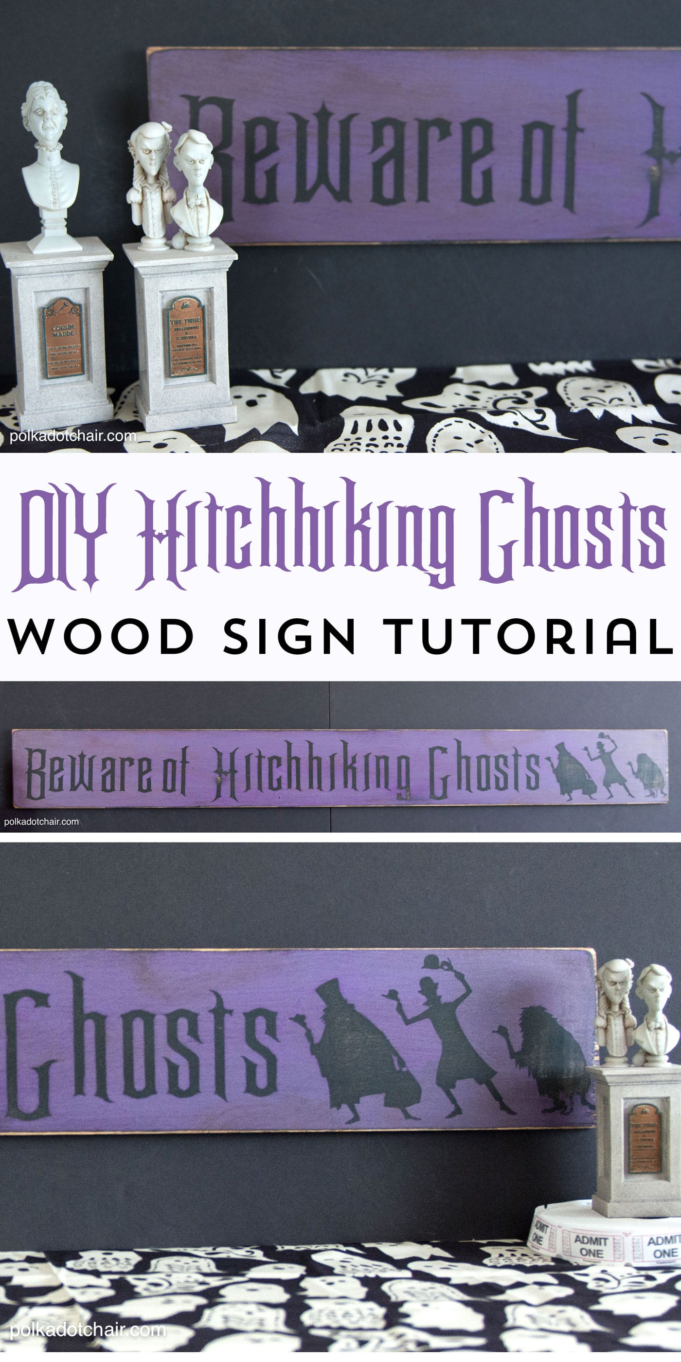 "How to make your own Wood Halloween Sign; A cute ""Beware of Hitchhiking Ghosts"" Haunted Mansion Inspired DIY Project!"