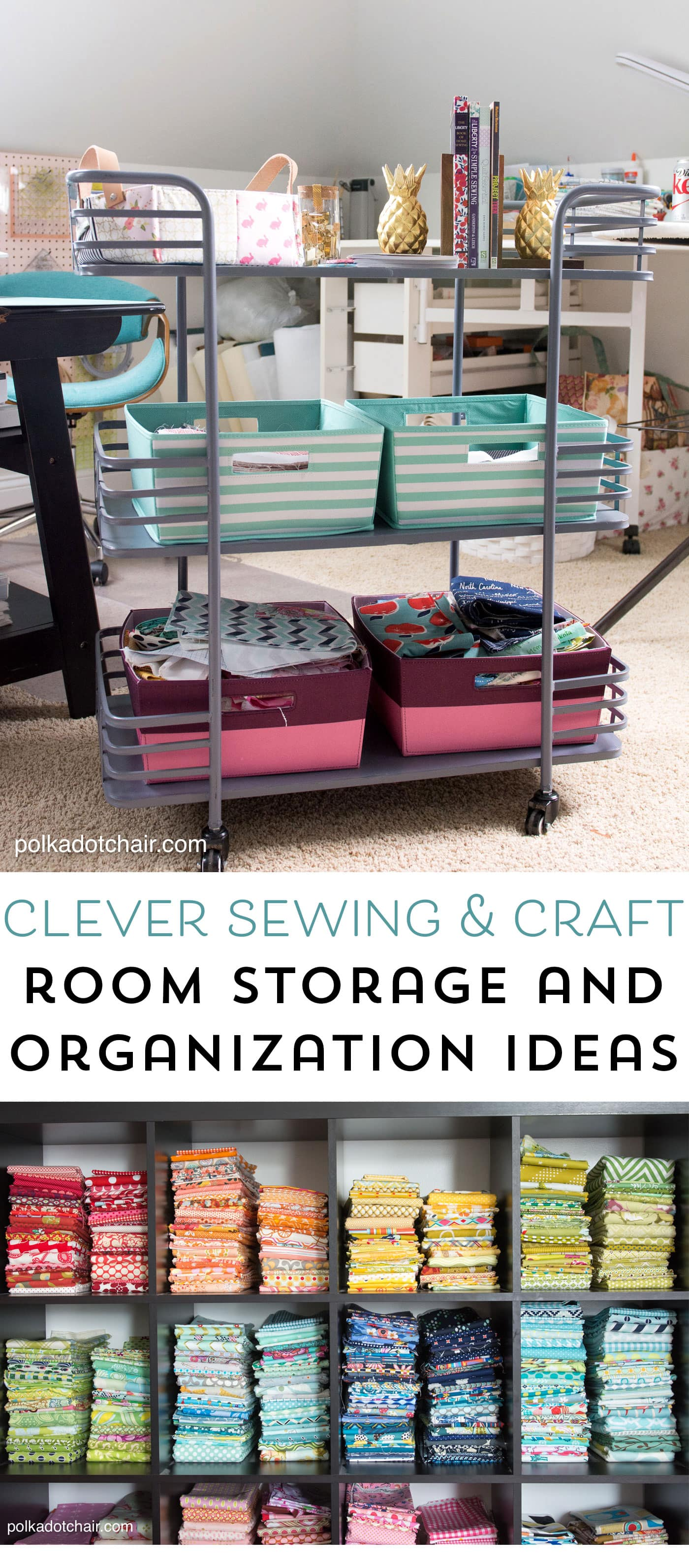 Cute and Clever Sewing Room Organization Ideas; fun ideas for storage and ways to make your sewing space more functional
