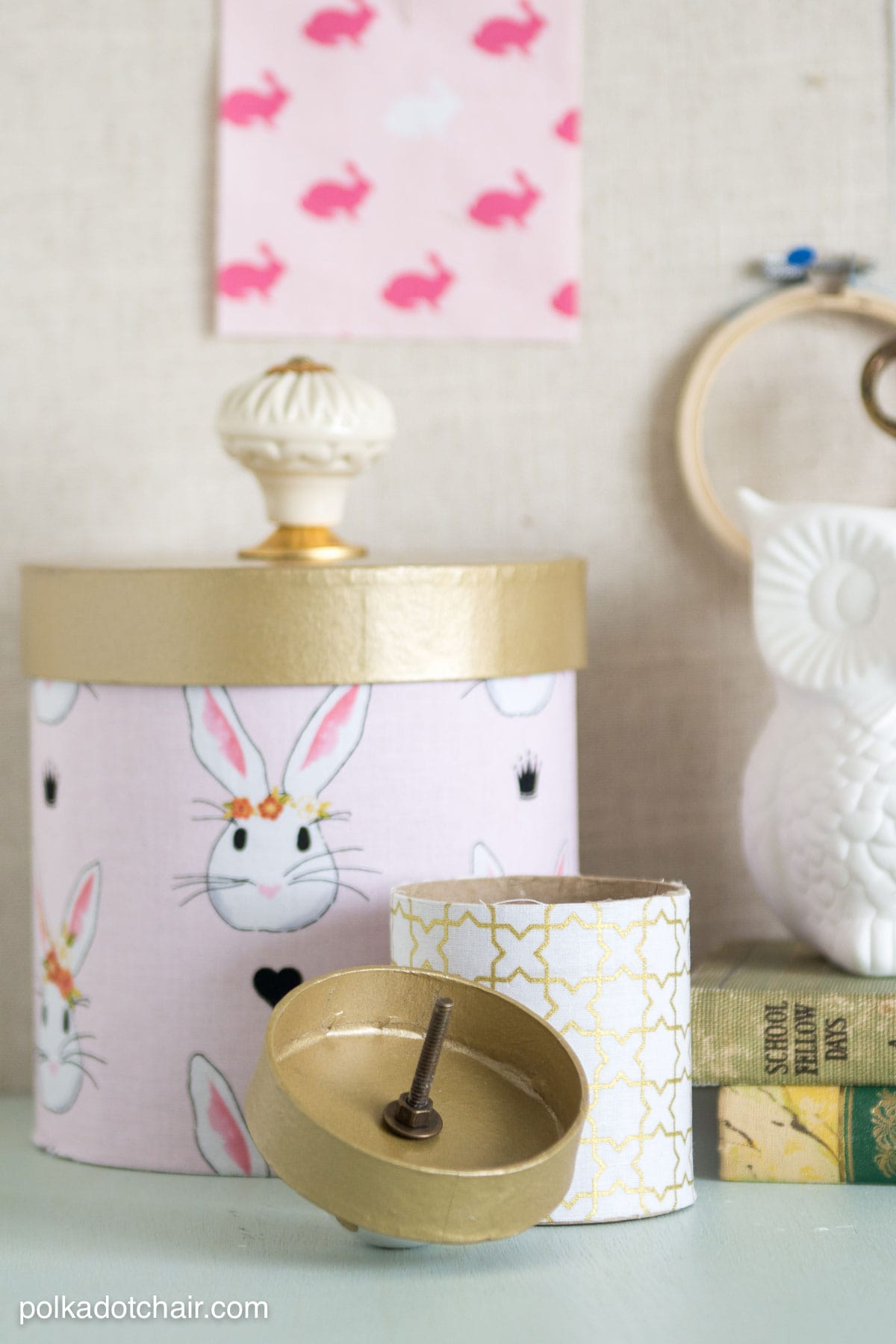 Learn how to cover paper mache boxes with fabric to make these cute DIY storage containers & How to Cover Paper Mache Boxes with Fabric - The Polka Dot Chair