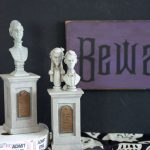 """How to make your own Wood Halloween Sign; A cute """"Beware of Hitchhiking Ghosts"""" Haunted Mansion Inspired DIY Project!"""