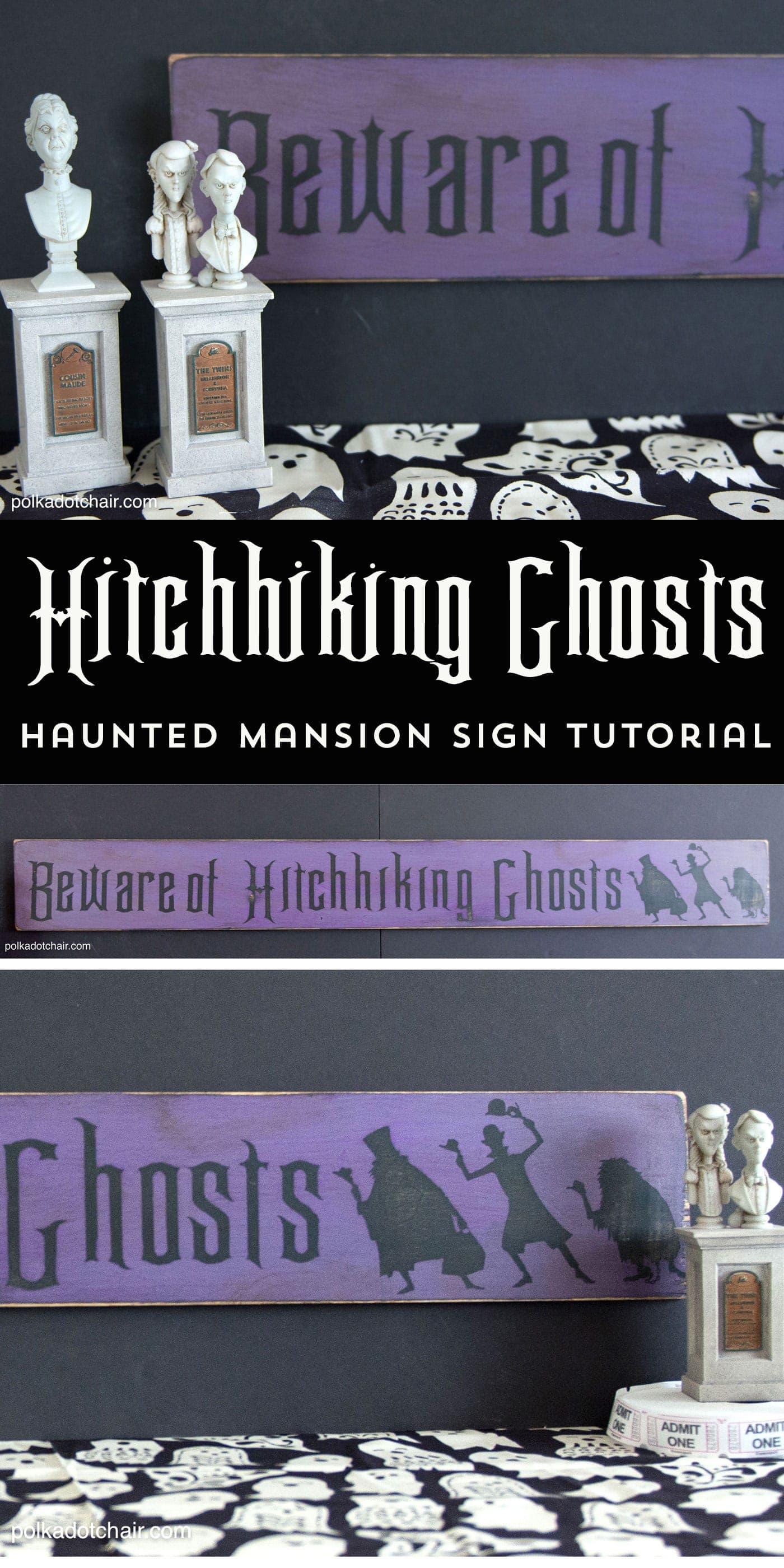 How to Make a Hitchhiking Ghosts Haunted Mansion Sign