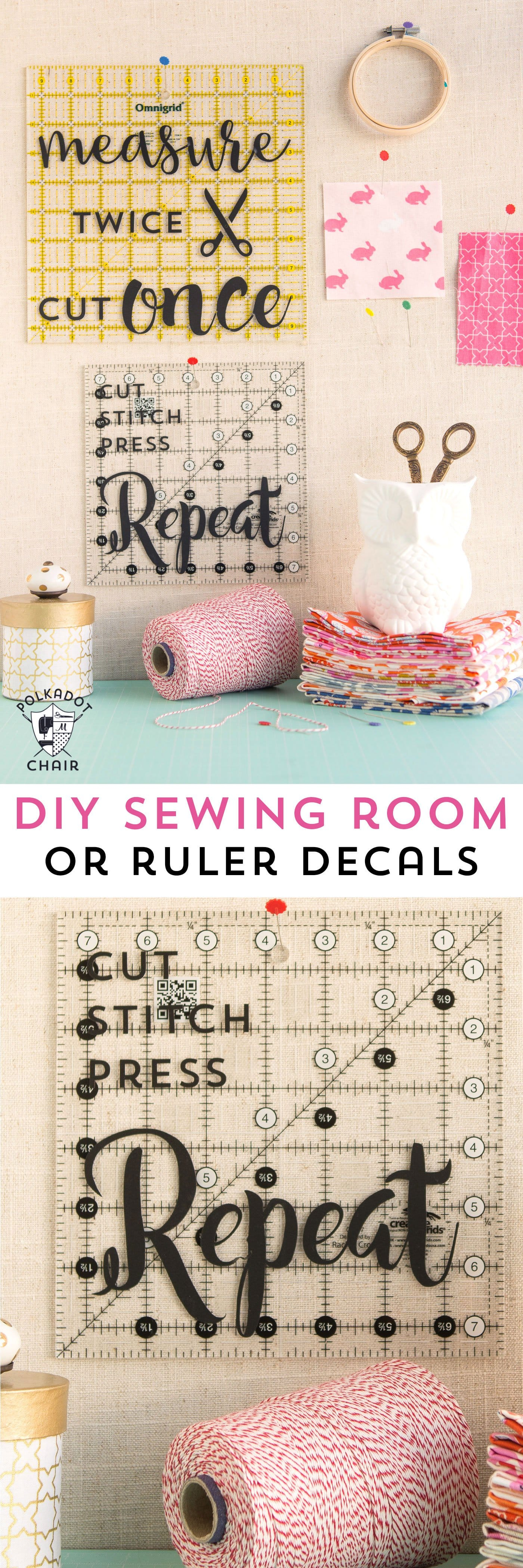 Diy sewing room decor ideas and free cricut cut files the diy sewing and quilting decals for quilt rulers or to use as wall decor in a amipublicfo Images