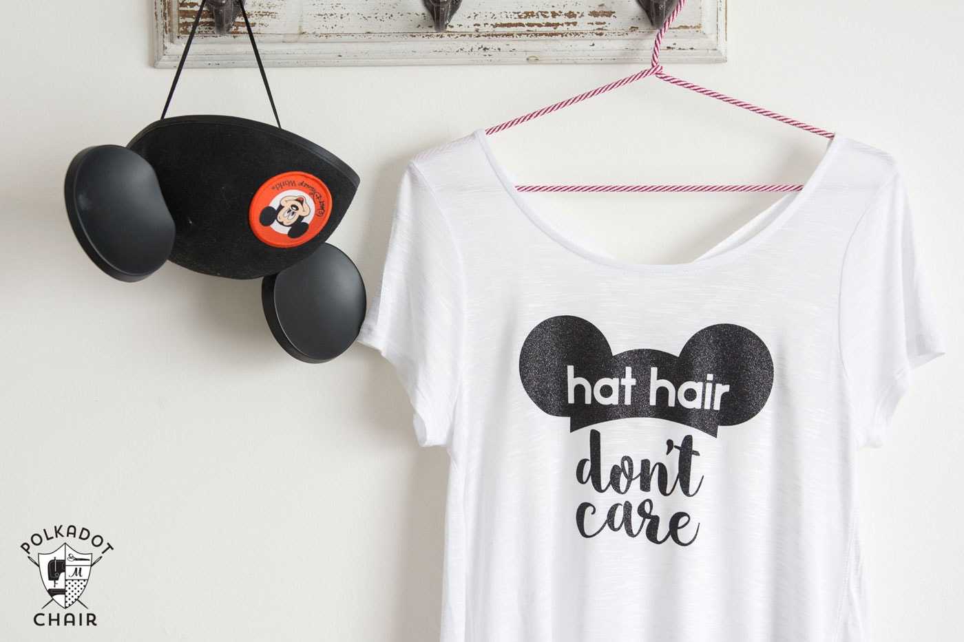 DIY Disney T-Shirt; Hat Hair, Don't Care - The Polka Dot Chair