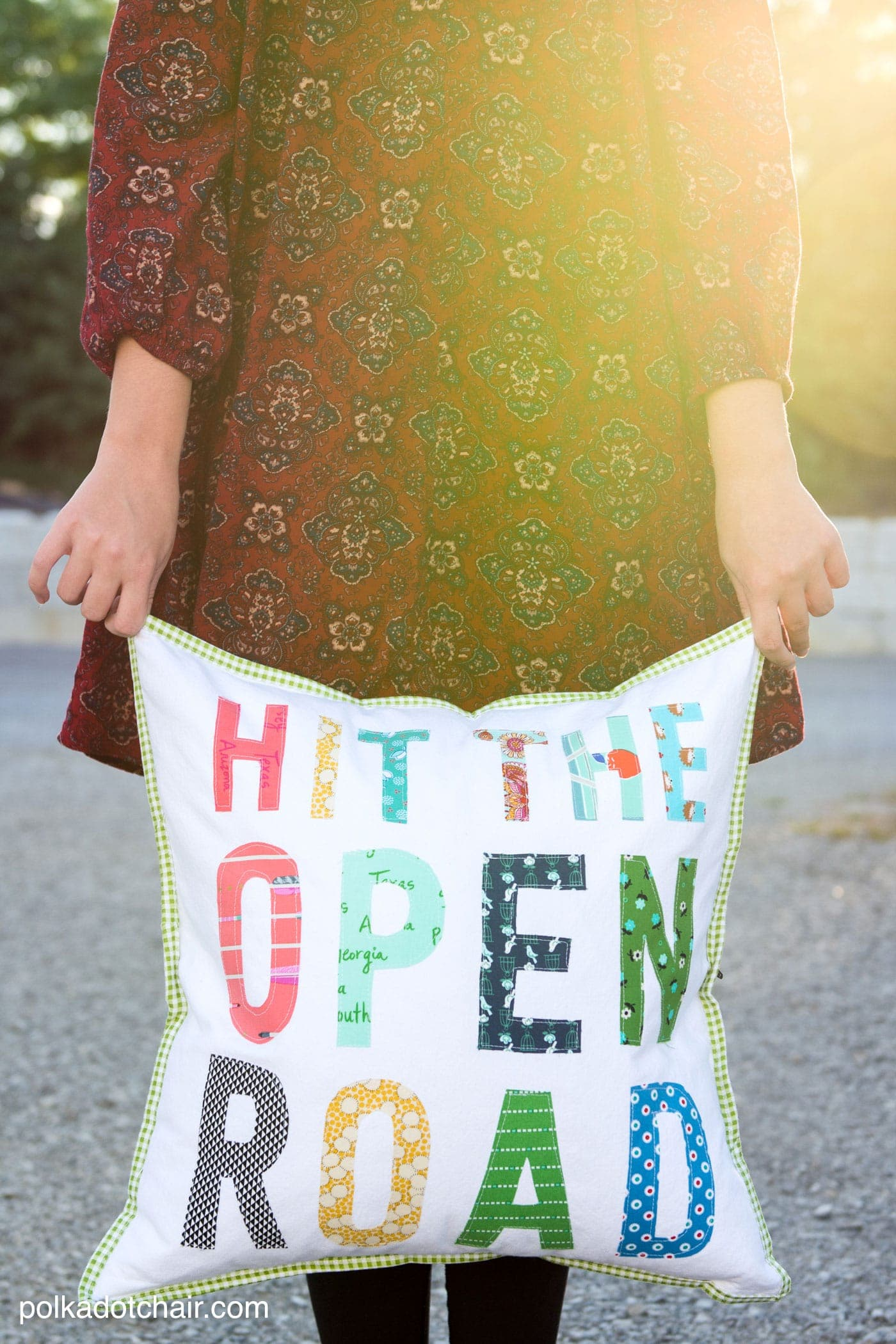 "Free tutorial for a Hit the Open Road pillow, a fun DIY project for an RV or camper. Plus why our family loves to ""Go RV'ing"""