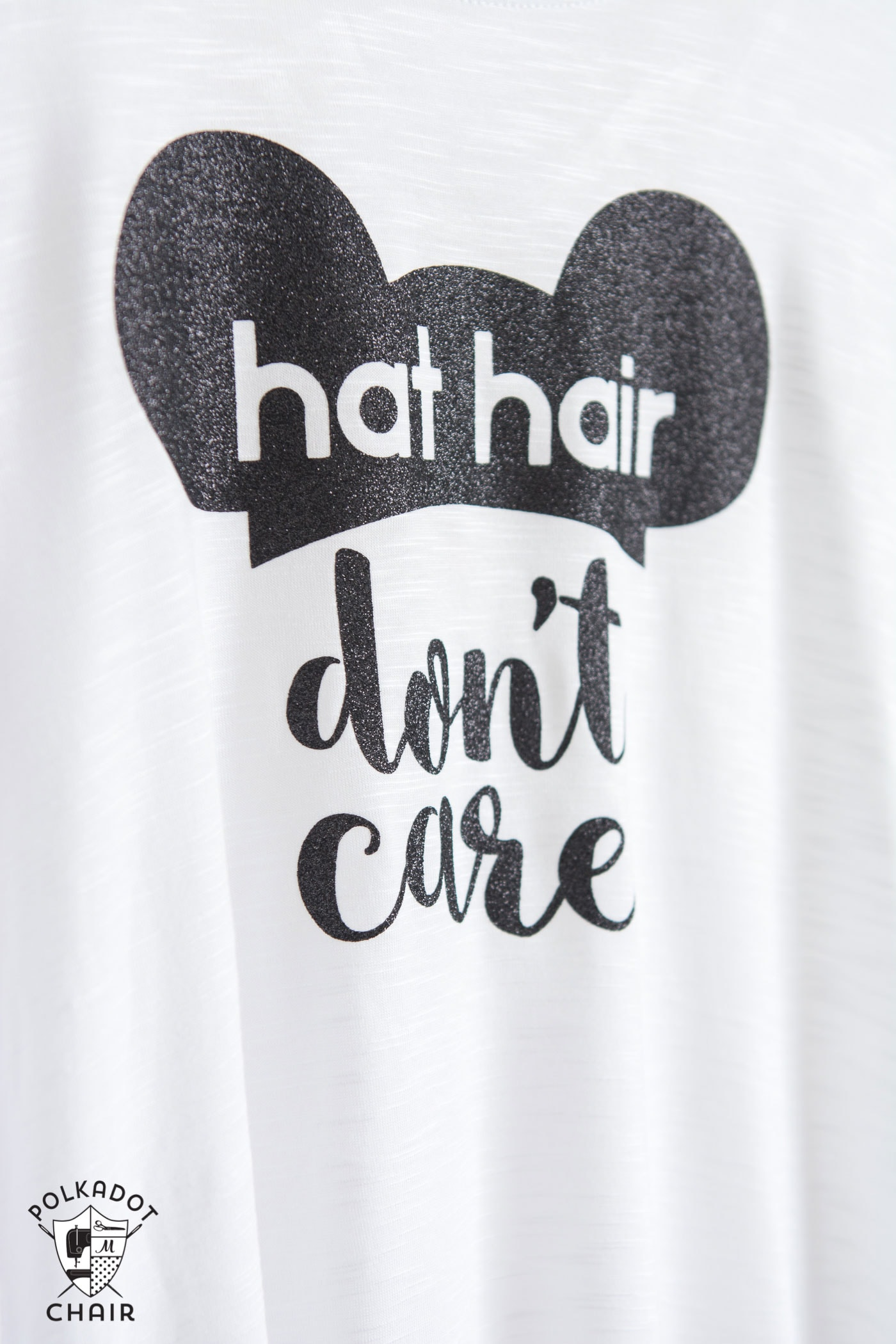 "Make your own DIY Disney T-shirt with this free cut file and iron on vinyl. Cute ""hat hair don't care"" Mickey Ears Disney tshirt!"