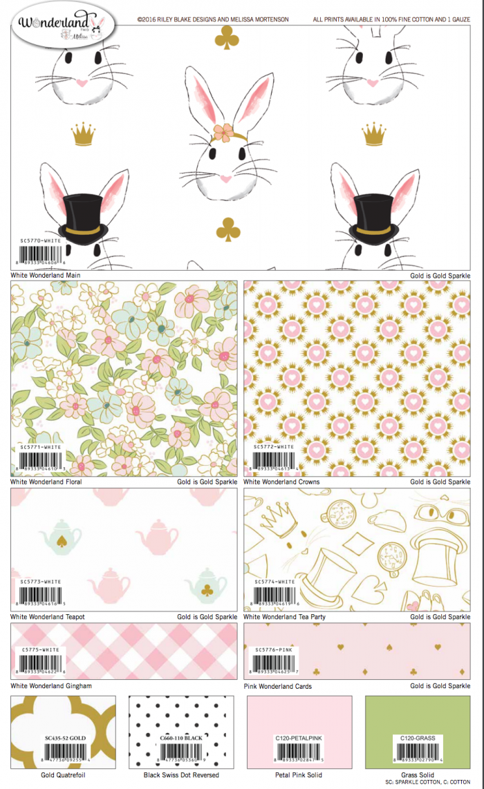 Wonderland Two Fabric by Melissa Mortenson from Riley Blake Designs, coming in January 2017!