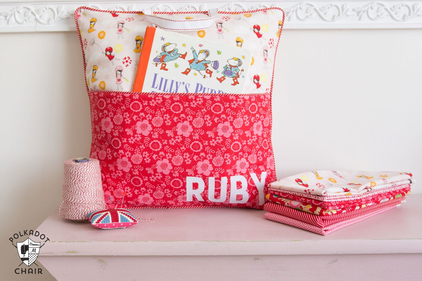 How To Sew A Personalized Reading Pillow With A Pocket And Handle   Free  Sewing Pattern