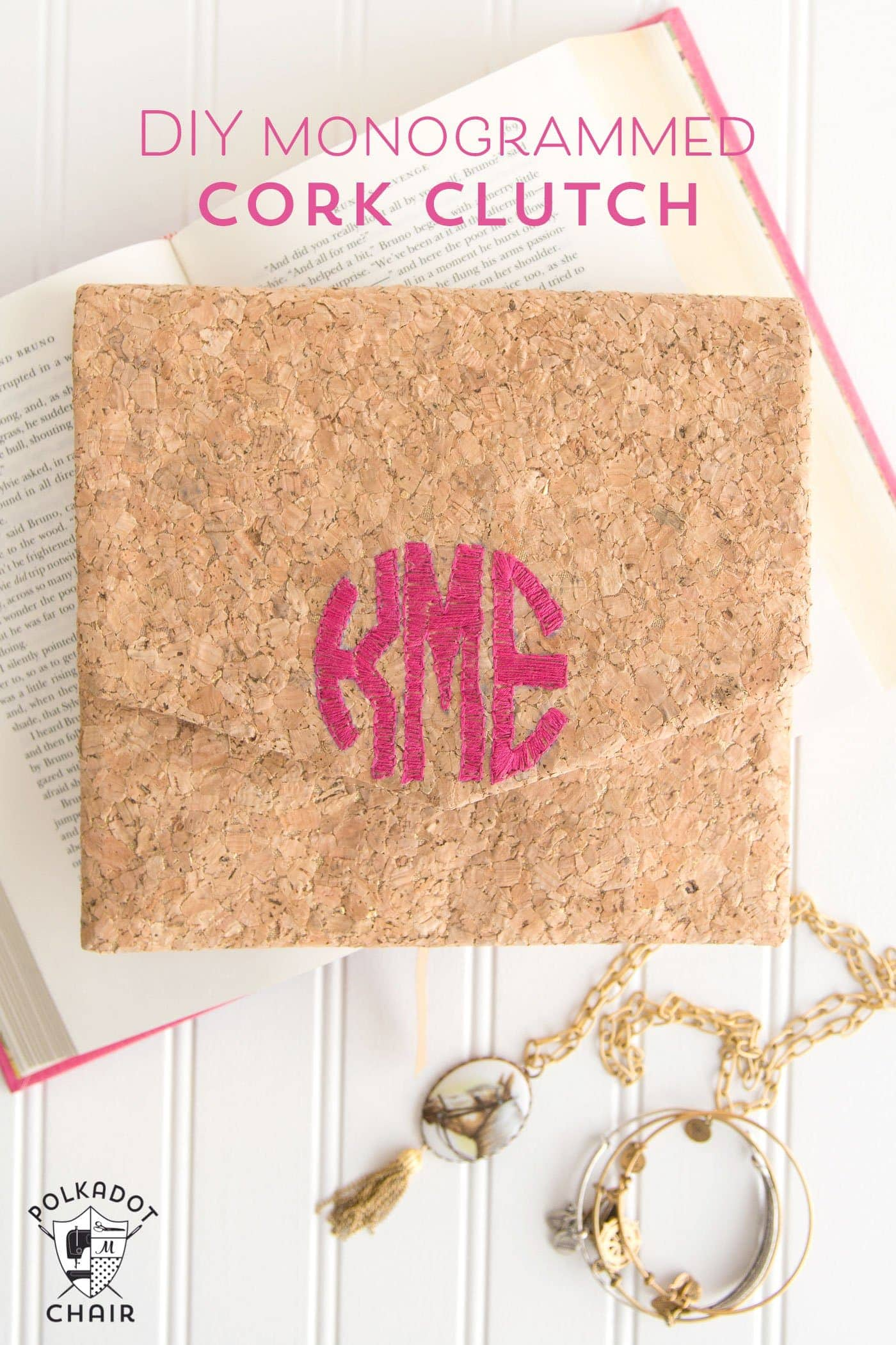 DIY Monogrammed Cork Clutch Tutorial