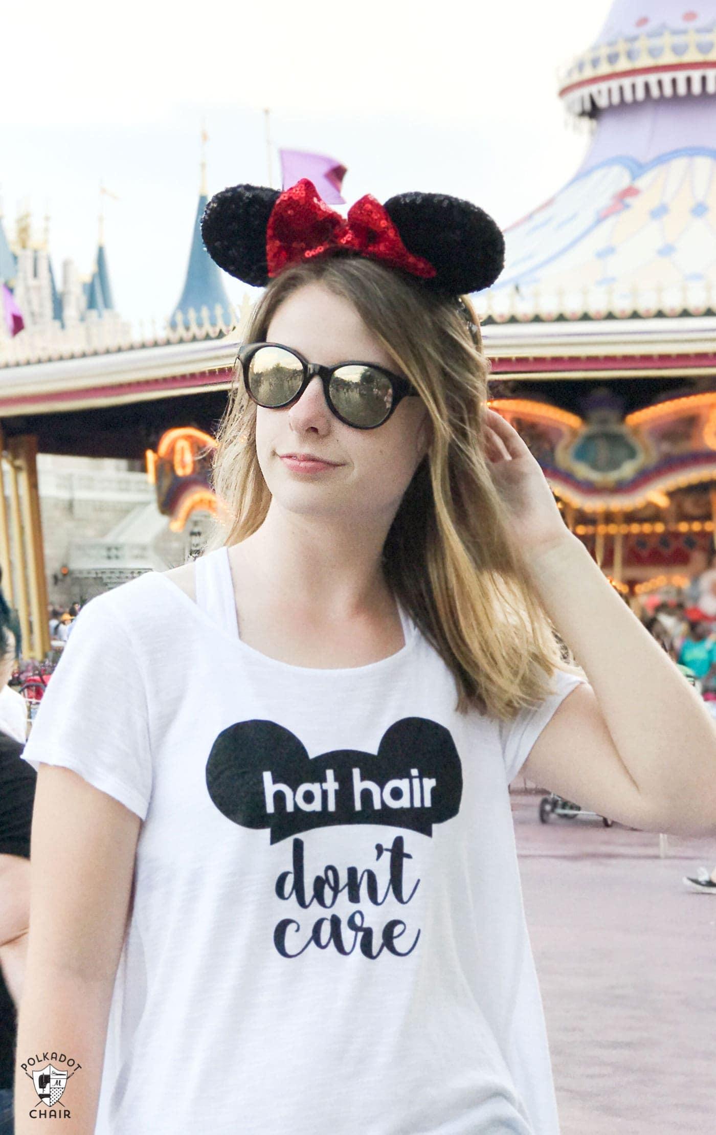 Diy disney t shirt hat hair don 39 t care the polka dot chair for Diy disney shirt template