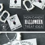 Cute non-candy Halloween Treat idea - free printable tags to attach to vampire teeth!