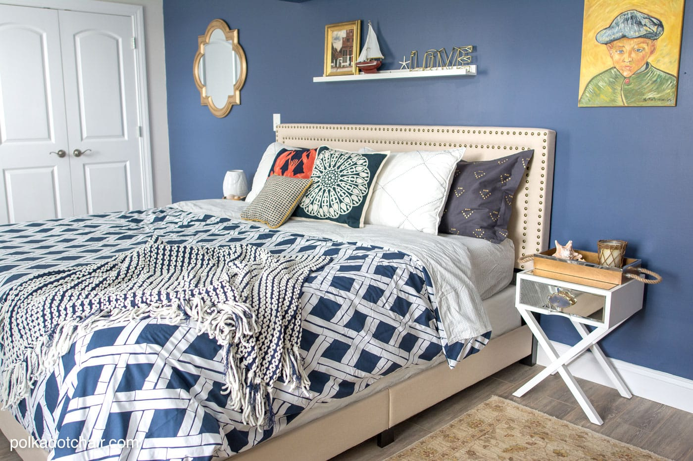 Blue and white bedroom decorating ideas and yogabed review on polkadotchair.com