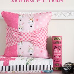 Bow Tie Pillow sewing pattern featuring Wonderland Two fabrics by Melissa Mortenson for Riley Blake Designs