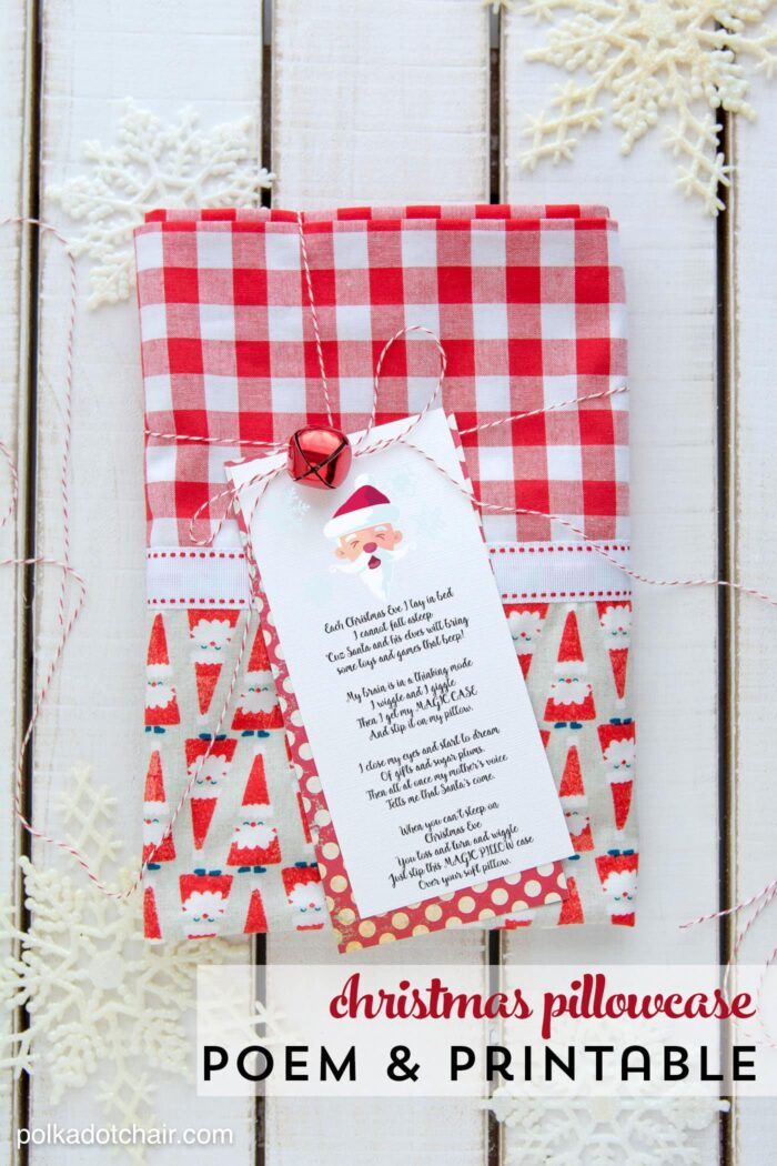 Free printable Christmas pillowcase poem on pillowcase on white table