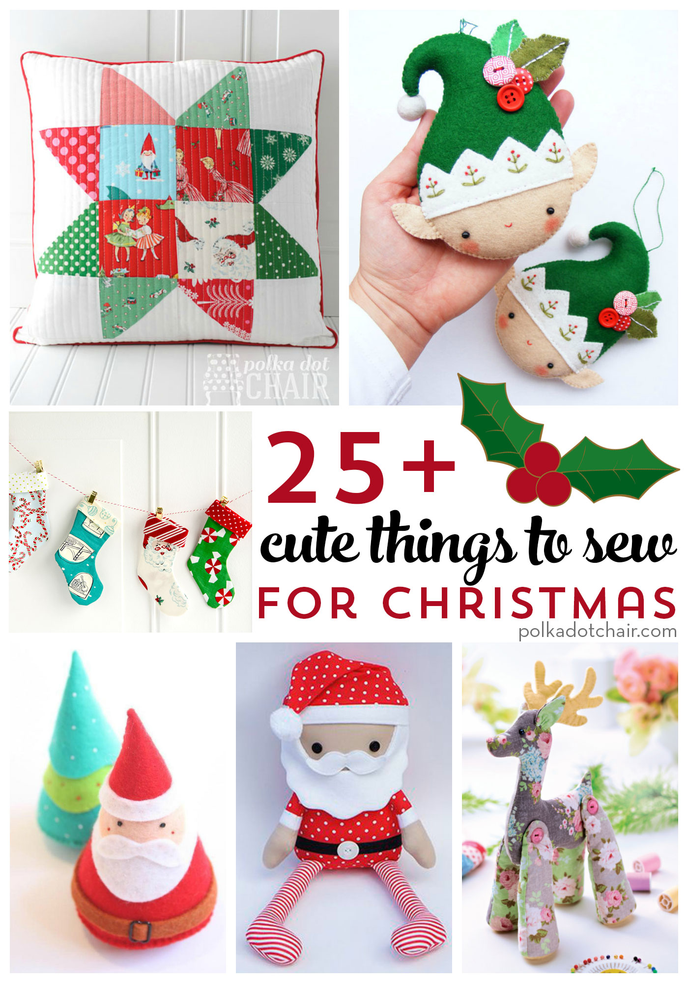 Cute Pillow Ideas To Sew : More than 25 Cute Things to Sew for Christmas - The Polka Dot Chair