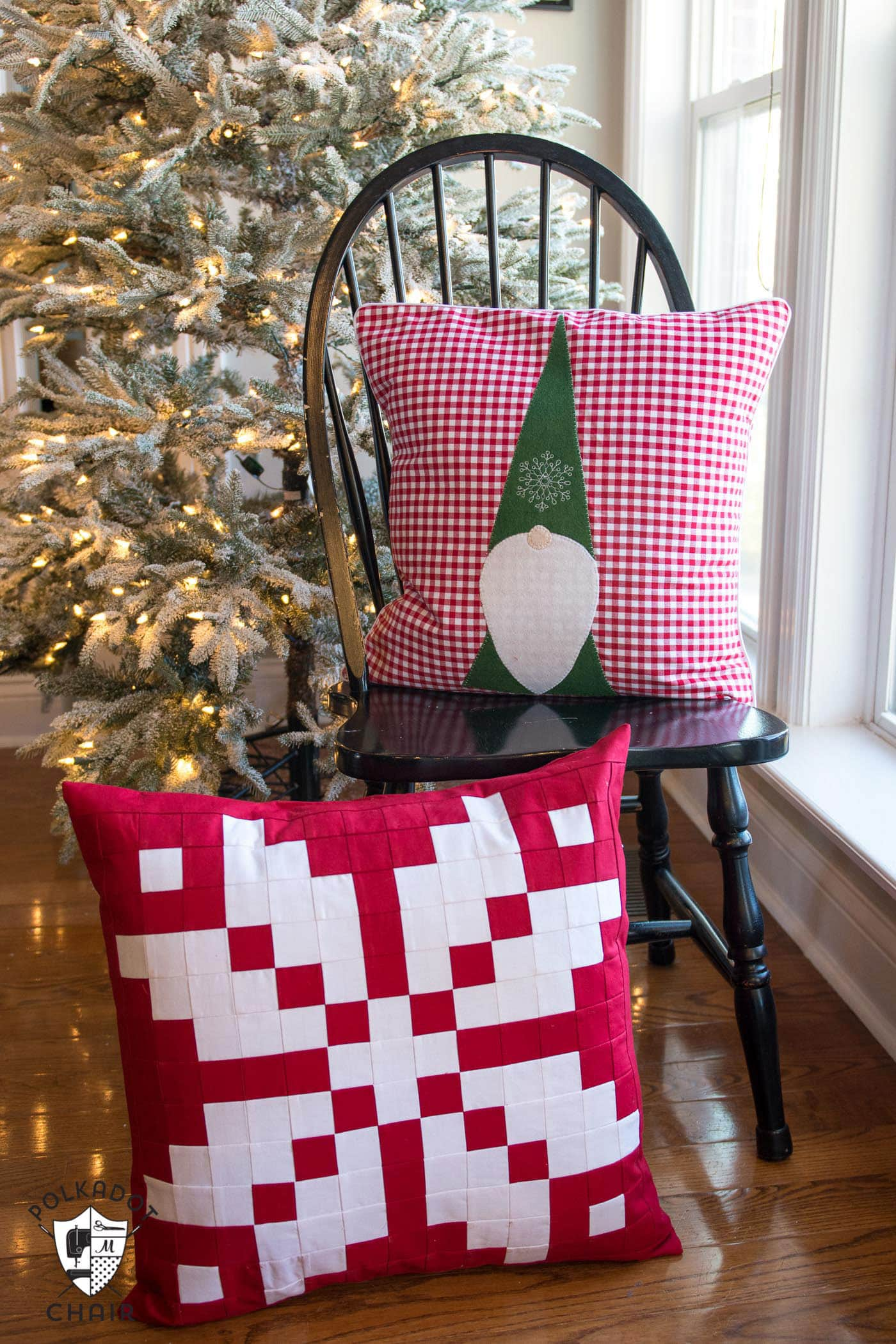 norwegian inspired patchwork snowflake pillow