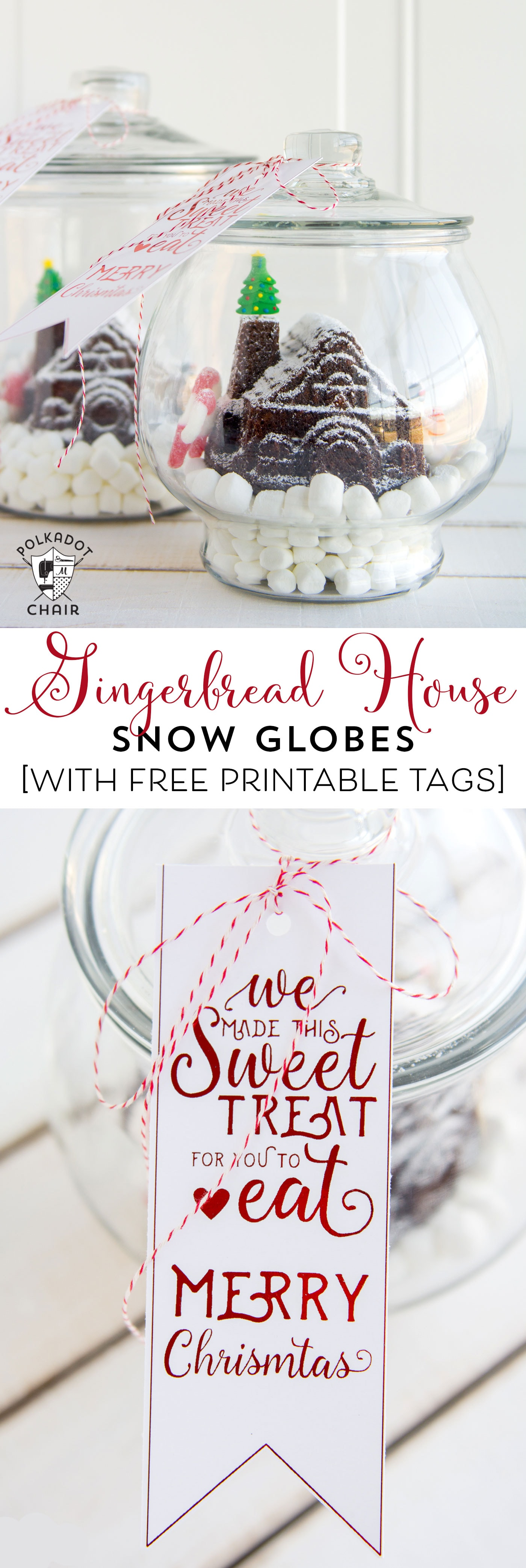 Cute DIY Gingerbread House Snow Globes and Free Printable Tags - The ...