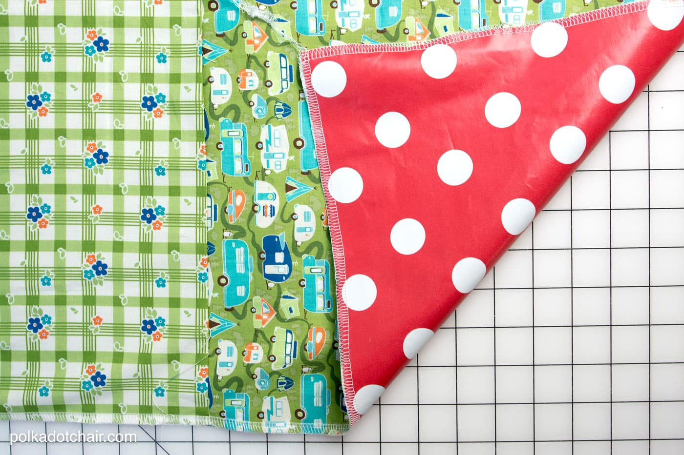 DIY Patchwork Waterproof Picnic Blanket Pattern, an easy to sew tutorial for a picnic blanket that rolls up!