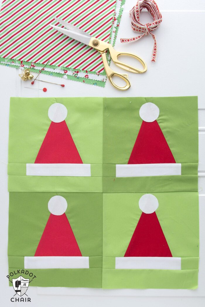 A quilting pattern for a Santa Hat Quilt blocks, would make a cute Christmas quilt or Christmas pillow!