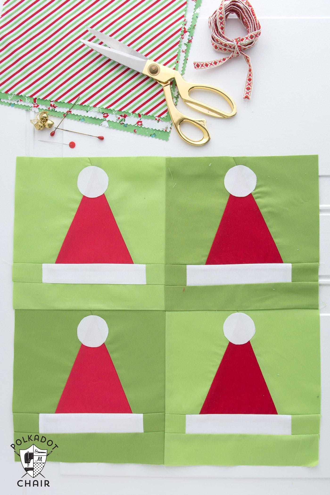 Santa Hat Quilt Blocks Pattern