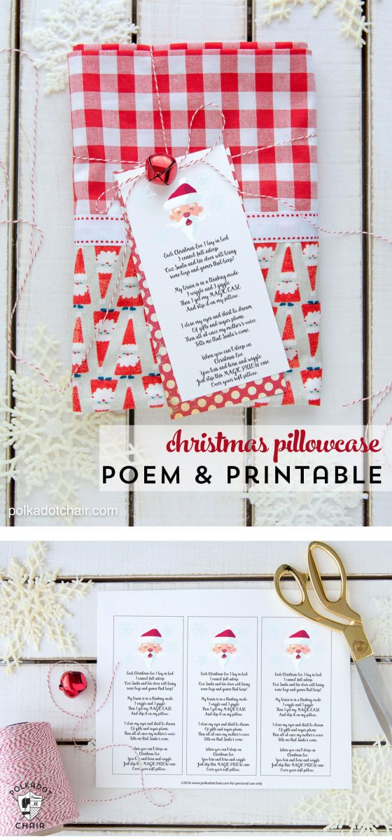 Christmas Pillowcase Poem Printable