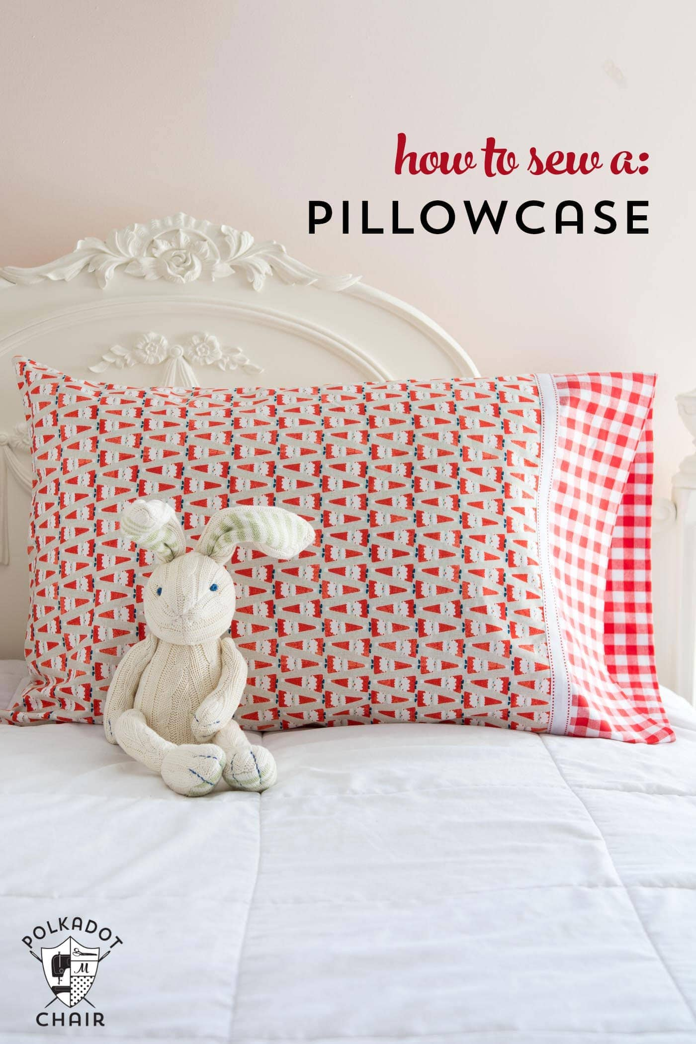 pillowcase on bed with bunny