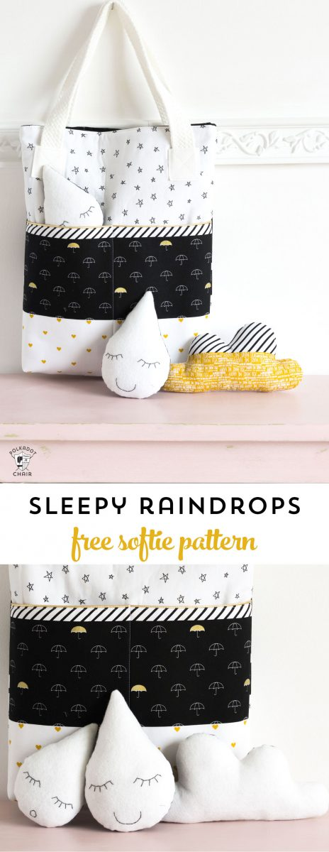"""""""Sleepy Raindrops"""" a free softie sewing pattern - makes a cute baby shower gift idea!"""