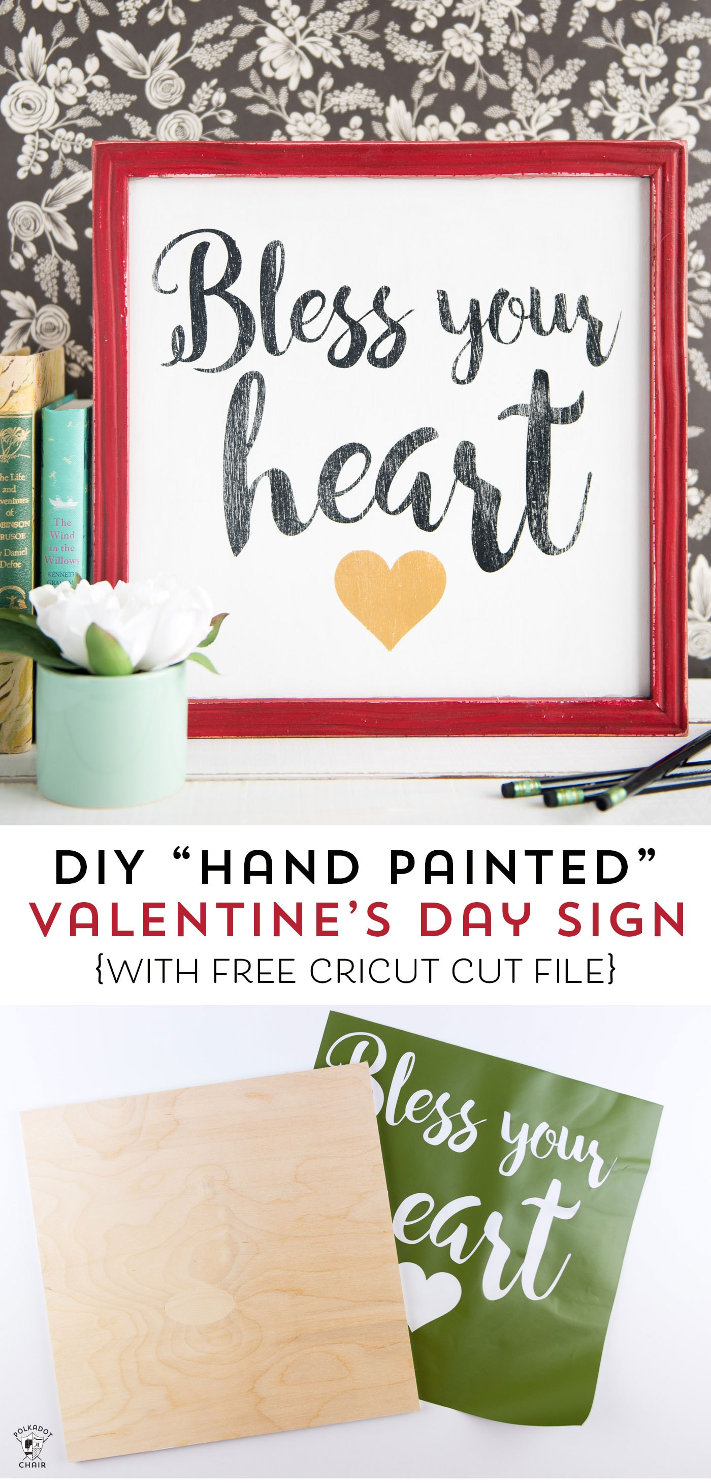 "How to make a hand painted wood sign- This ""Bless your Heart"" sign is such a cute craft idea for Valentine's Day or for everyday!"
