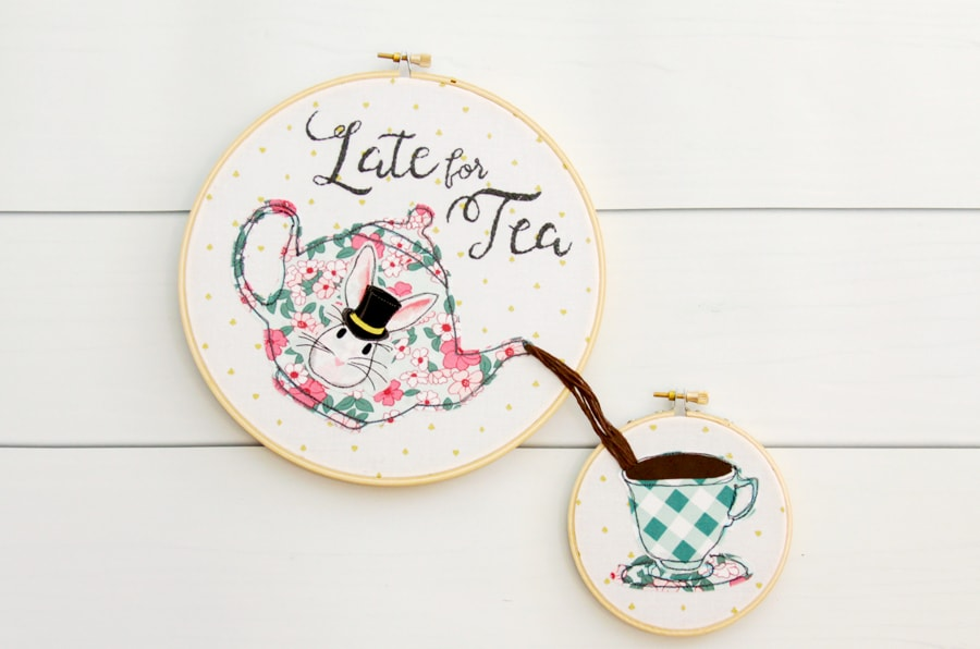 Late for Tea; Embroidery Hoop Art Free Pattern | The Polka ...