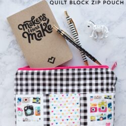 Free tutorial for a polaroid quilt block zip pouch - such a cute way to store your sewing or quilting supplies!