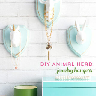 Cute and Whimsical DIY Jewelry Hangers made with wood plaques and animal heads; a creative way to display your jewelry
