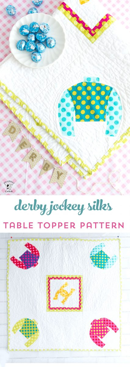 Free pattern for a Derby Jockey Silks Table Topper - cute idea for a Kentucky Derby sewing, craft or decorating project!