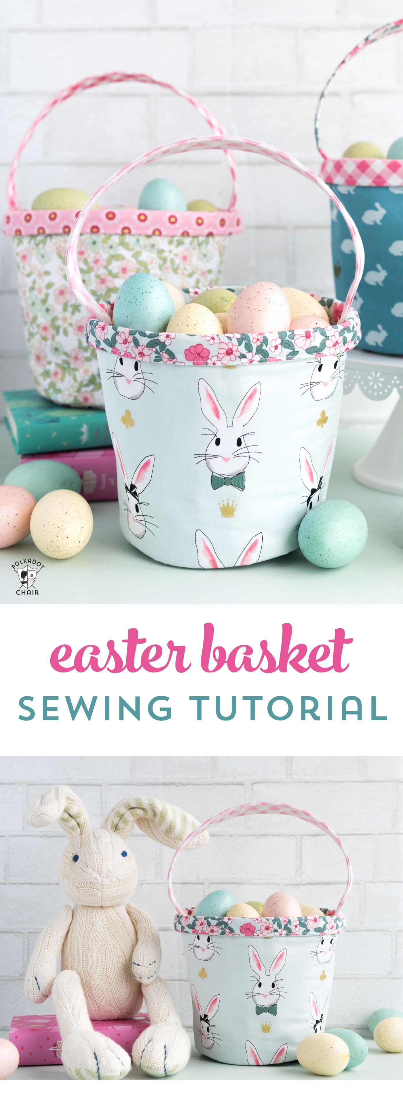 Free Easter Basket sewing tutorial - a cute little fabric basket perfect for Spring!