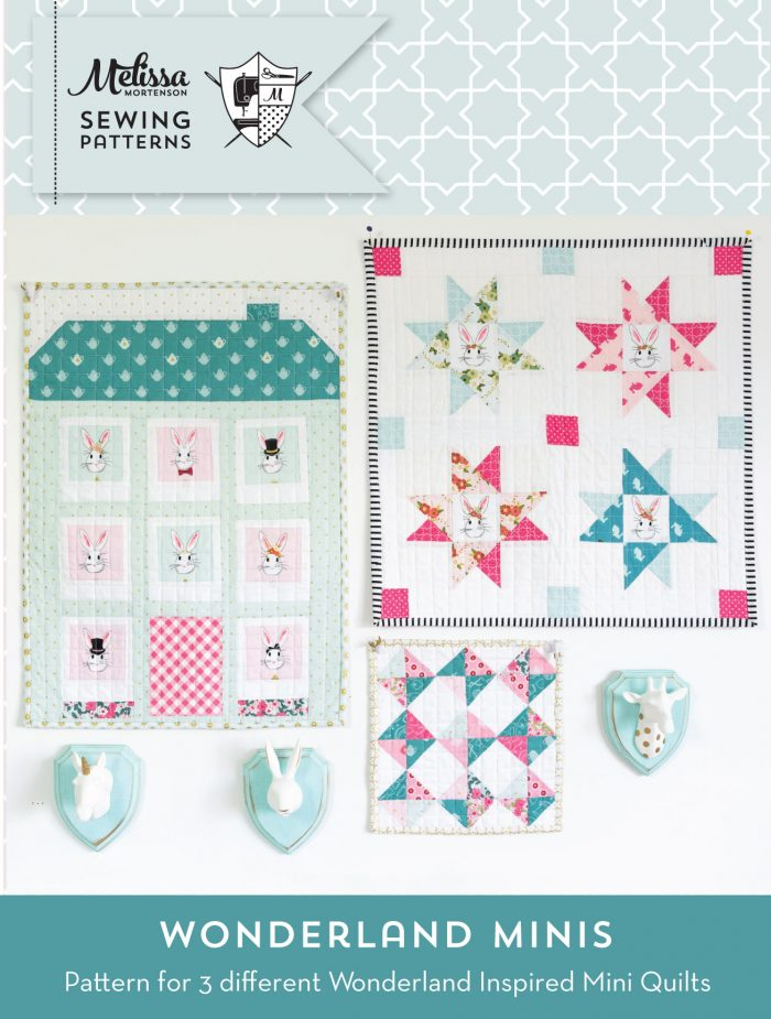 Super cute Wonderland themed Mini Quilt Patterns- these would be so cute as wall hangings in a little girls room or as a baby doll quilt!