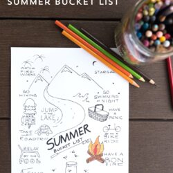 Free Printable Summer Bucket list coloring sheet - such a fun idea for kids for summer- download for free on polkadotchair.com
