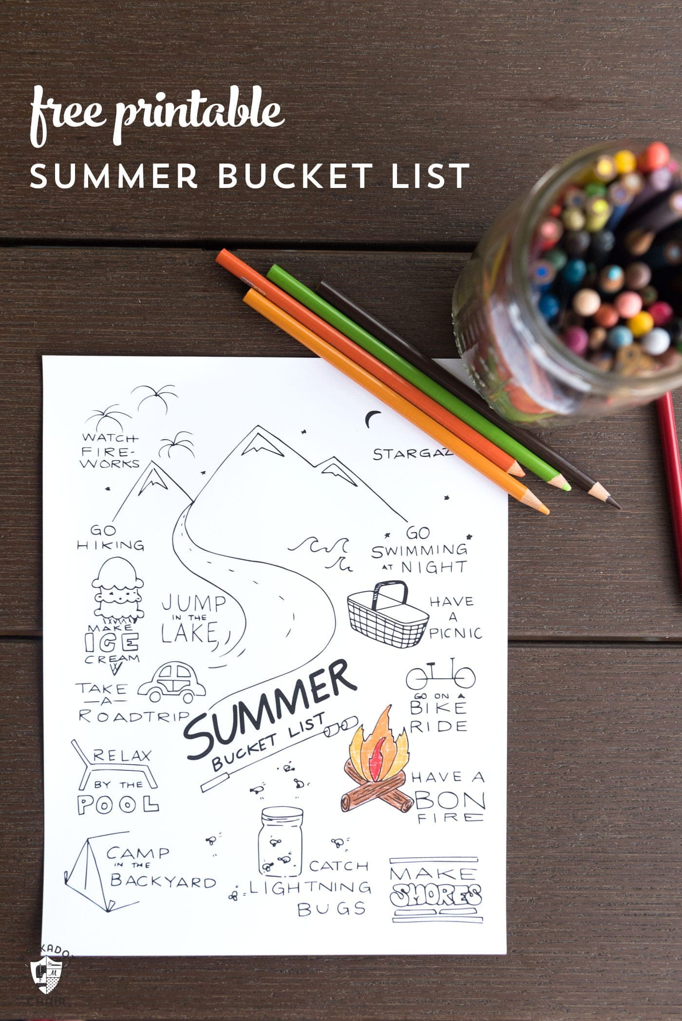 Free Printable Summer Bucket List Coloring Page The