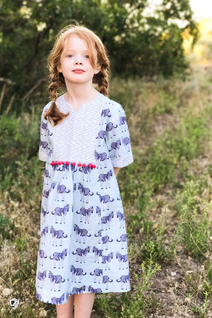 Oliver + S Hide and Seek Dress pattern sewn using Safari Party fabrics from Riley Blake Designs; lots of cute ideas for handmade dresses for little girls on polkadotchair.com