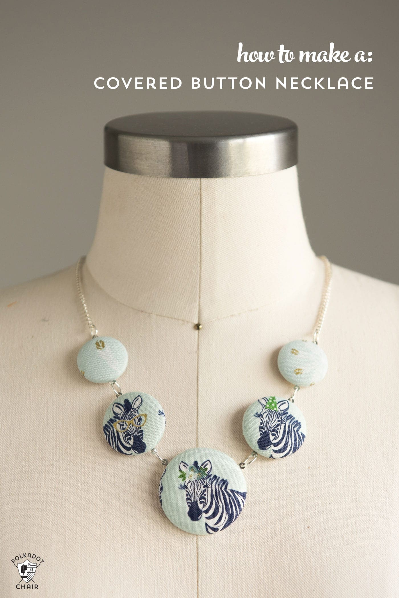 Fabric Covered Button Necklace Tutorial The Polka Dot Chair
