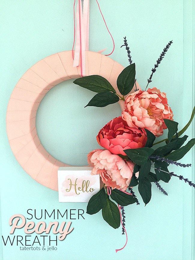 Summer Peony Wreath DIY by tatertots and jello