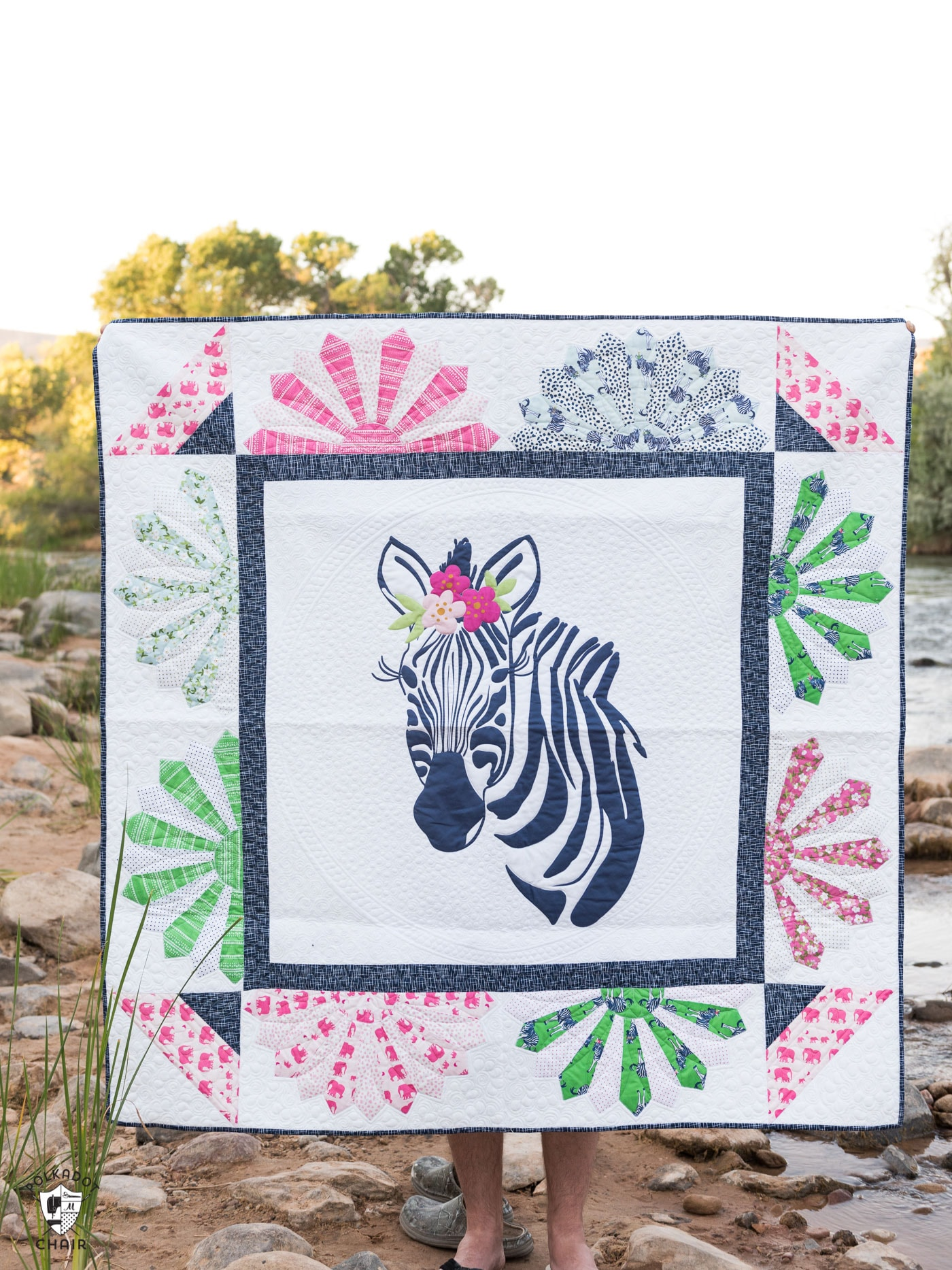 Zinnia the Zebra Quilt Pattern - such a fun applique quilt pattern, would be so cute to make as a baby quilt or for a child!