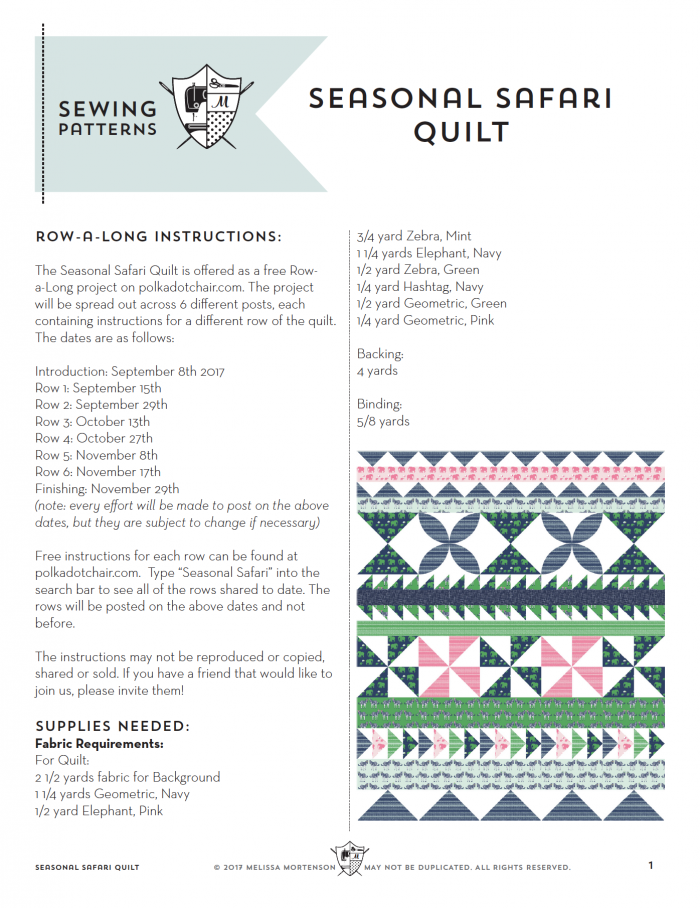 Seasonal Safari Quilt Pattern - offered as a free quilt row along this Fall from the polkadotchair.com blog!
