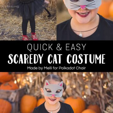 Adorable and EASY DIY Scaredy Cat Costume by Made by Melli - such a fun and quick DIY Costume idea - #halloween #halloweencostume #catcostume #diycostume #easyhalloweencostume #tutorial #cricut #ironon