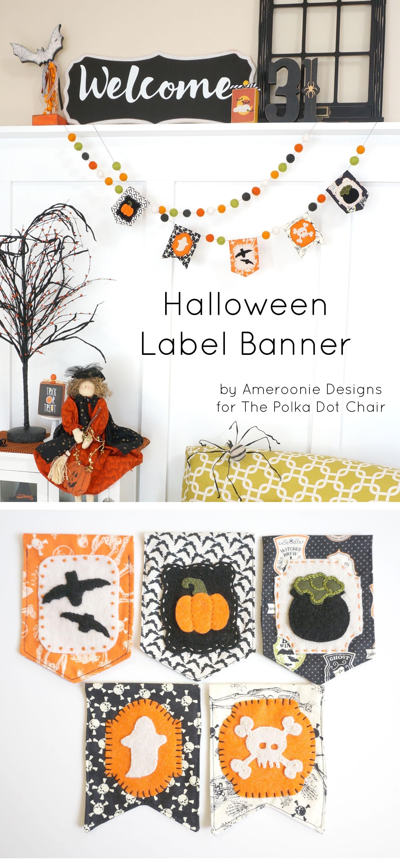 DIY Fabric Halloween Banner tutorial - with free applique pattern! #halloween #halloweensewing #halloweenbanner #sewing #sewingproject #halloweensewing #halloweencrafts #halloweenpatterns #embroidery #applique #freepatterns