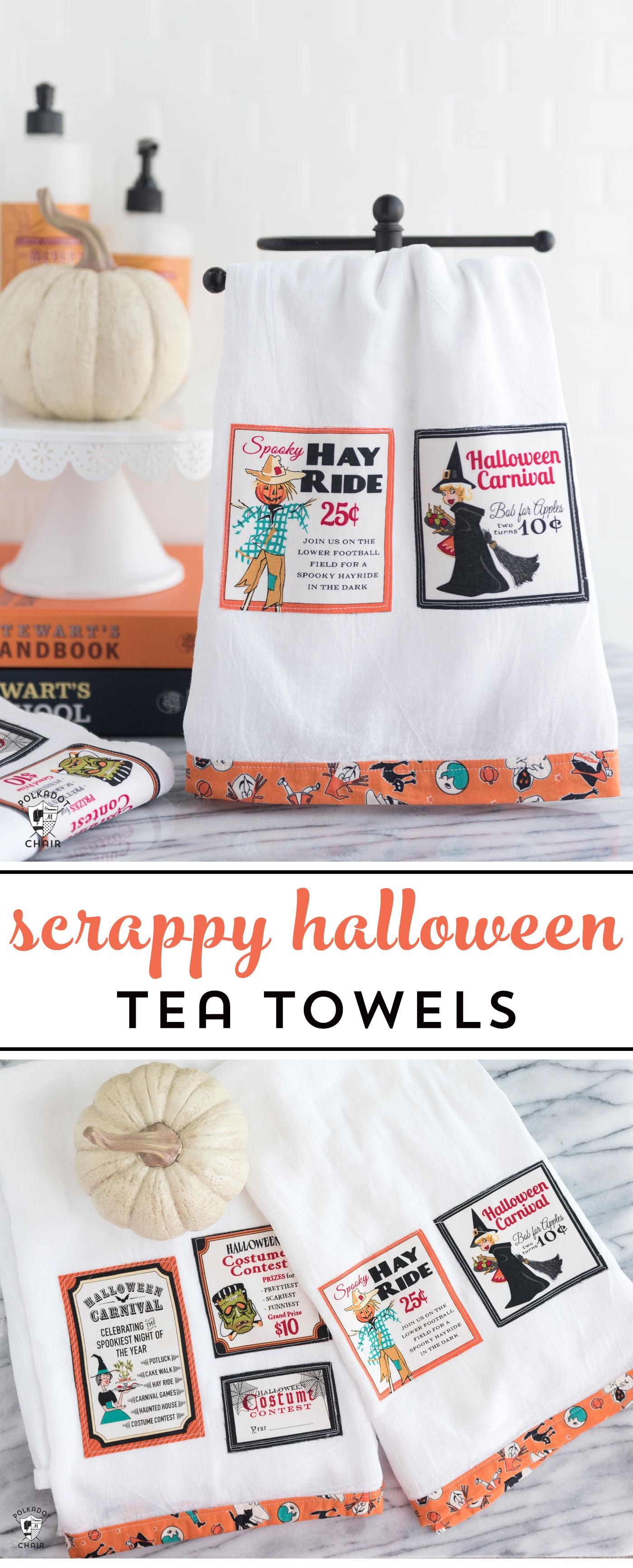 Free sewing tutorial for a DIY Halloween Tea Towel - such a cute project and a great way to use up fabric scraps!  #halloween #halloweensewing #halloweengifts #gifts #giftideas #halloweenfabric #tutorial #sew #rileyblake #teatowel #diyteatowel #diydishtowel #dishtowel