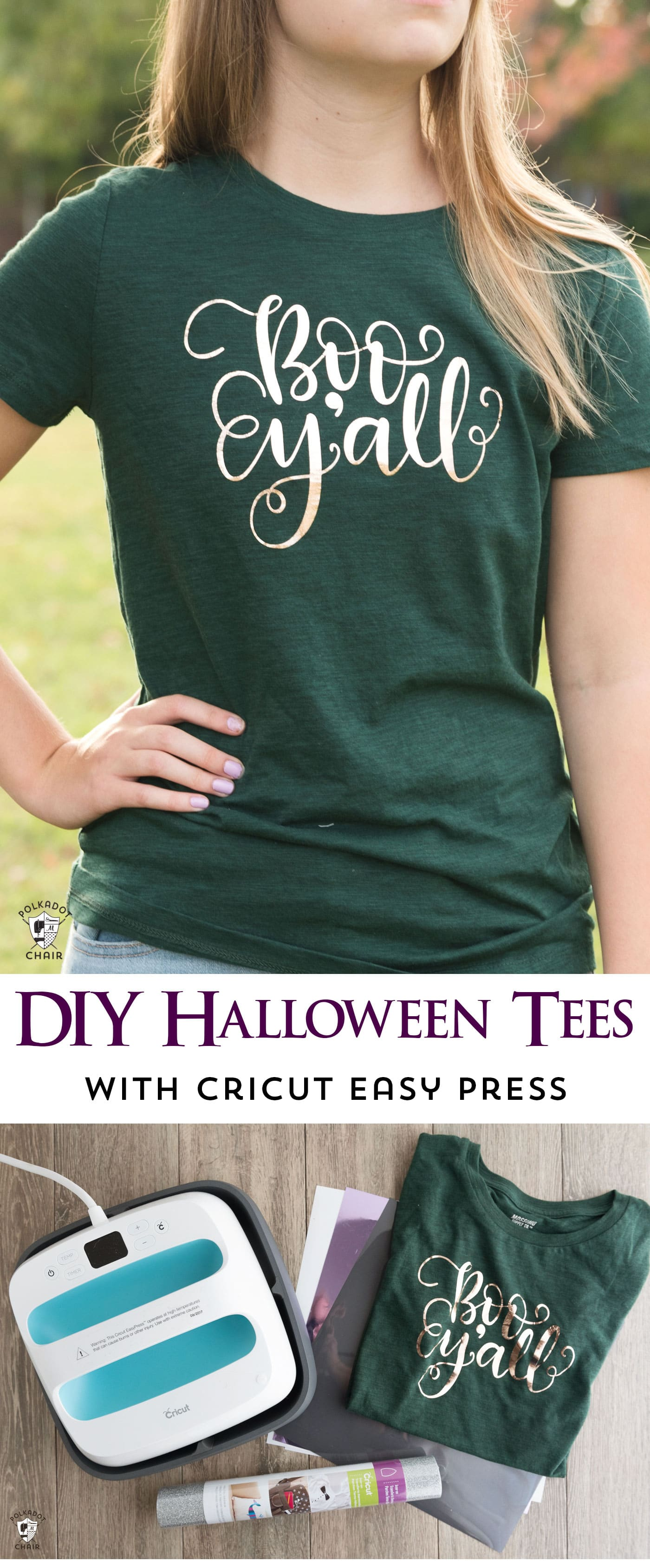 How to make cute Halloween t-shirts with iron ons and a review of the new Cricut EasyPress machine. Includes free cut files inspired by Disney's Haunted Mansion themed t-shirts for Halloween