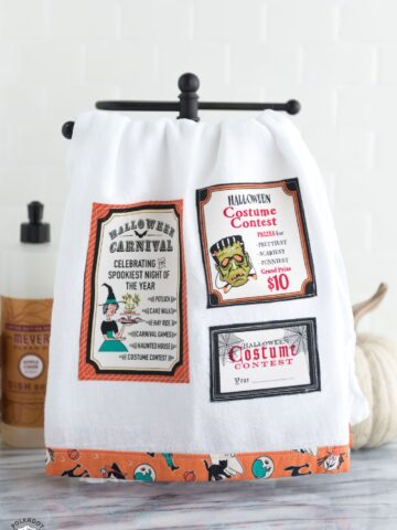 Free sewing tutorial for a DIY Halloween Tea Towel - such a cute project and a great way to use up fabric scraps! #halloween #halloweensewing #halloweengifts #gifts #giftideas #halloweenfabric #tutorial #sew #rileyblake #teatowel #diyteatowel #diydishtowel #dishtowel