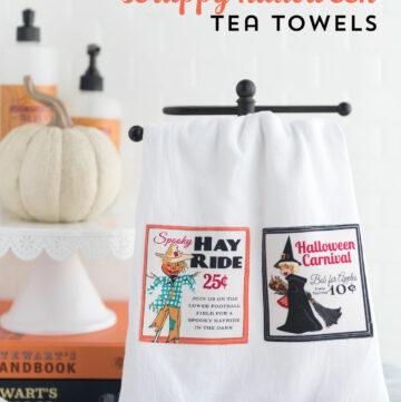 Scrap Busting DIY Halloween Tea Towels