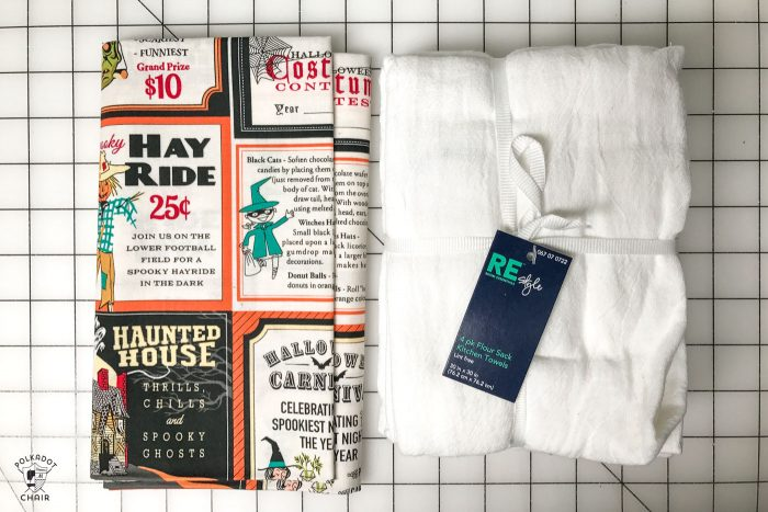 Free sewing tutorial for a DIY Halloween Tea Towel - such a cute project and a